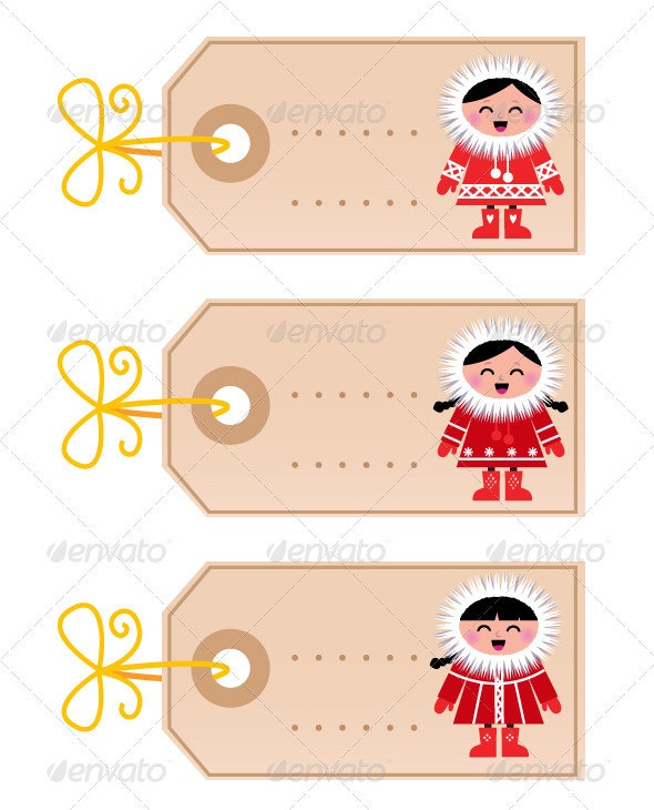 Christmas blank tags with eskimo kids - Animals Characters