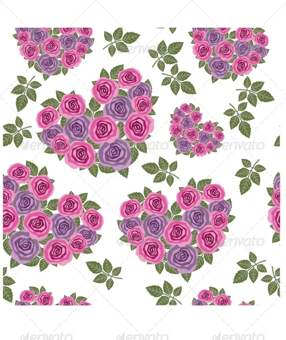 Seamless heart flowers texture 466 - Patterns Decorative