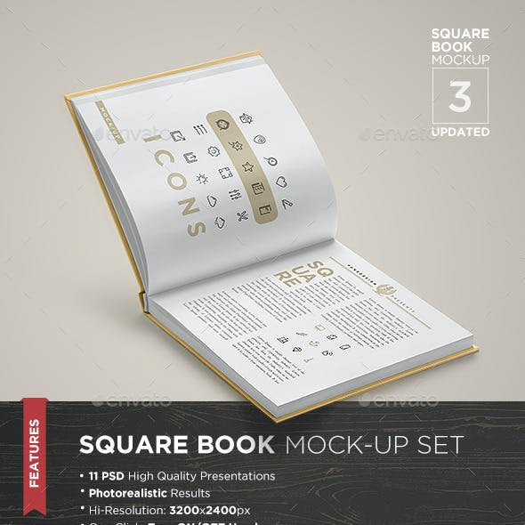 Square Book Mock-Up Set 3