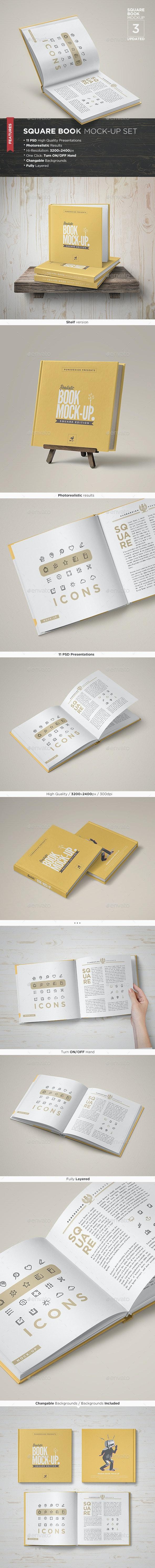 Square Book Mock-Up Set 3 - Books Print
