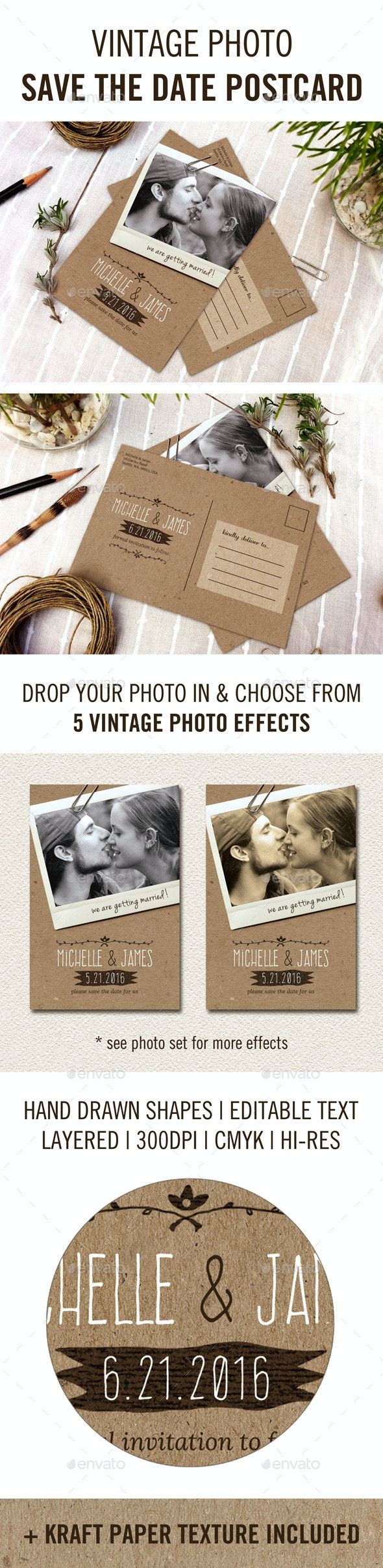 Vintage Photo Save the Date Postcard - Weddings Cards & Invites