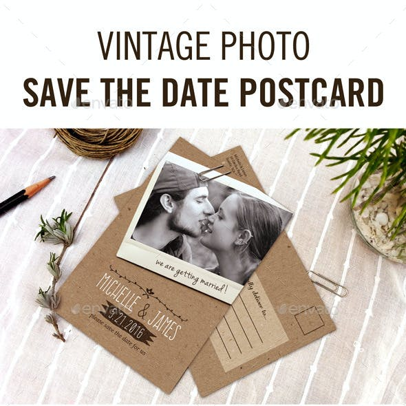 Vintage Photo Save the Date Postcard