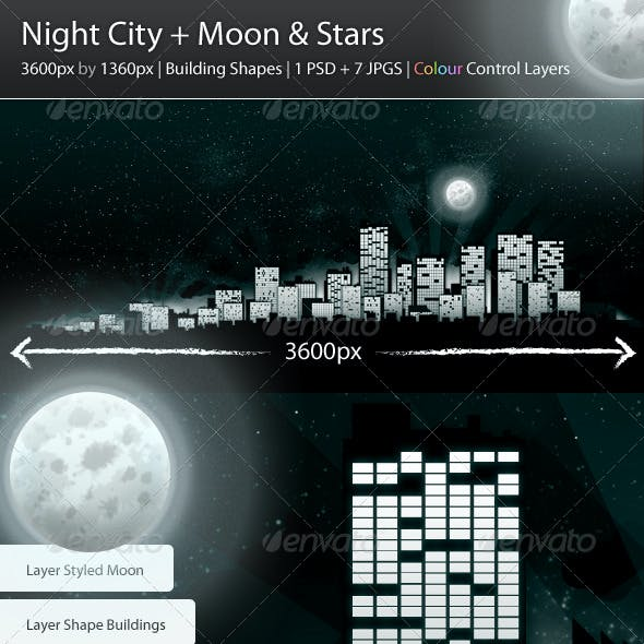 Night City + Moon & Stars