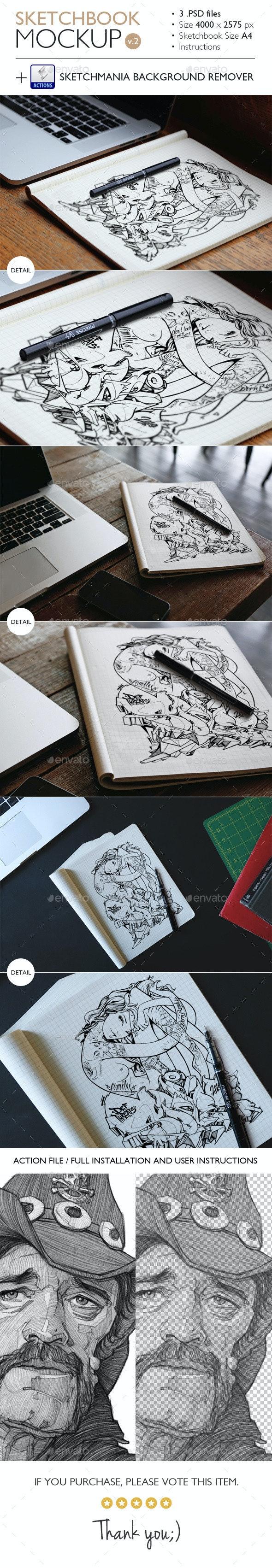 Sketchbook Mockup v.2 - Miscellaneous Product Mock-Ups