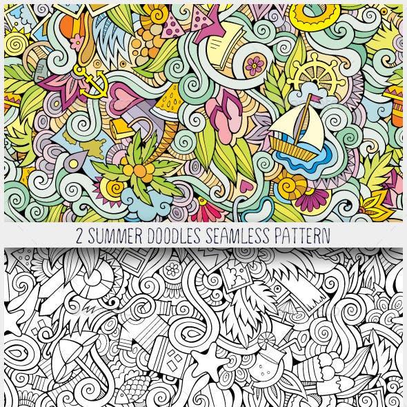 2 Summer Holidays Doodles Seamless Patterns