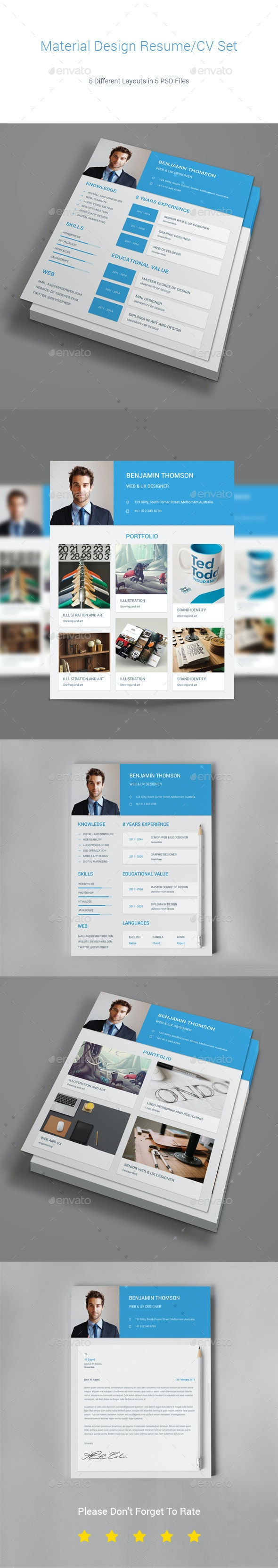 Material Design Resume/CV Set - Resumes Stationery