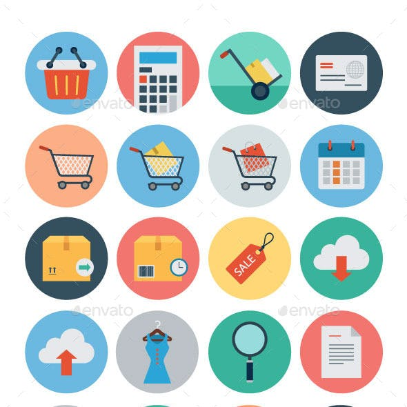 40 Flat Shopping and Commerce Icons