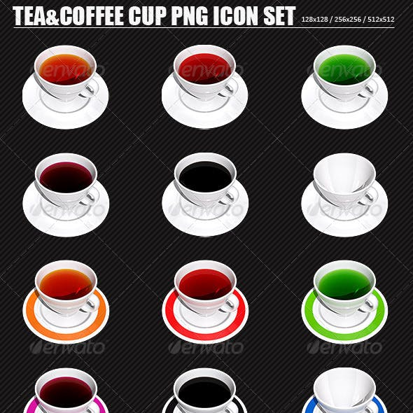 Tea and Coffee Cup PNG Icon Set