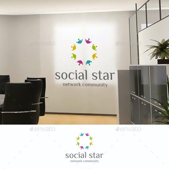 Social Star Teamwork Community Logo