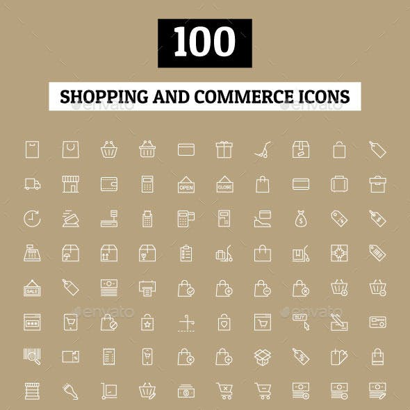100 Shopping and Commerce Icons