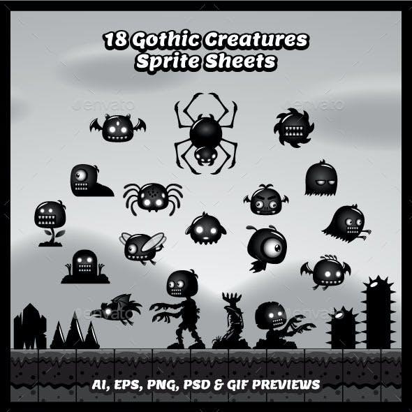 18 Gothic Creatures Sprite Sheets
