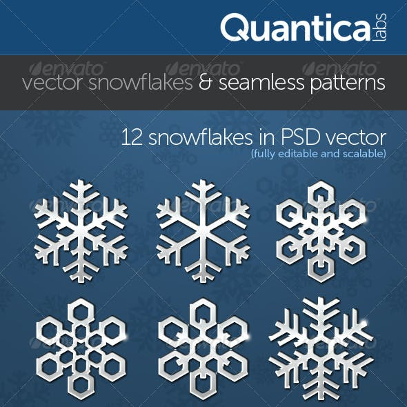 Vector Snowflakes With Seamless Patterns