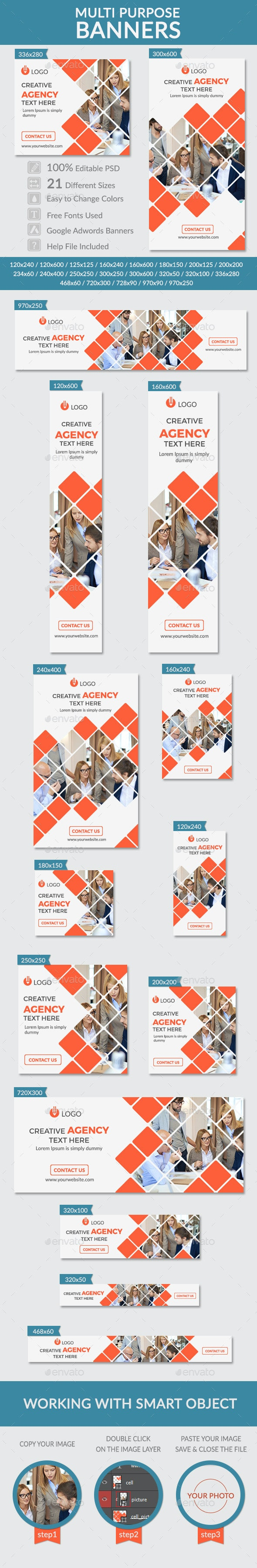 Multi Purpose Banners - Banners & Ads Web Elements