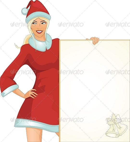 Santa girl with paper - People Characters