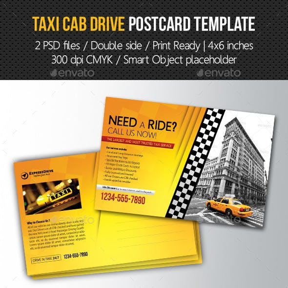 Taxi Cab Drive Postcard Template