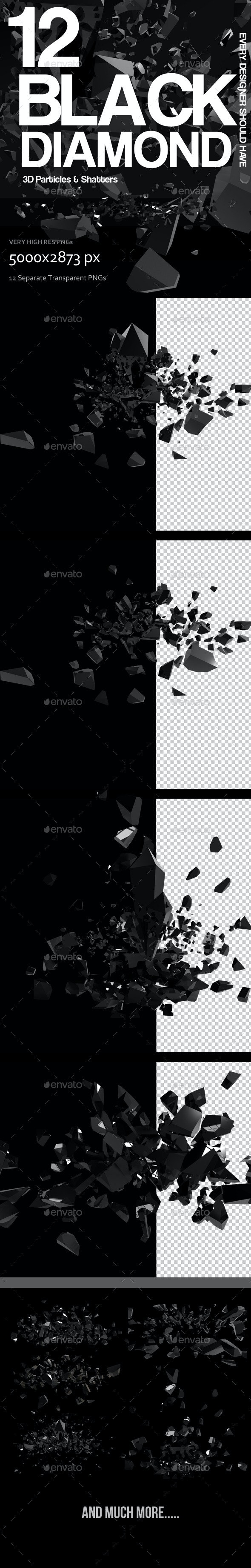 Black Diamond Particles - Abstract 3D Renders