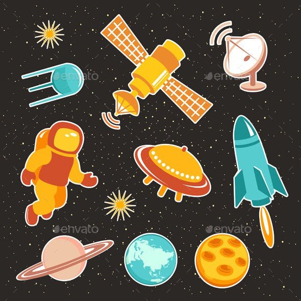 Space Ship Icons With Planets And Astronaut