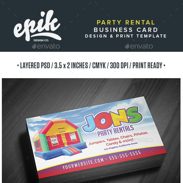 Party Rental Store Business Card Template