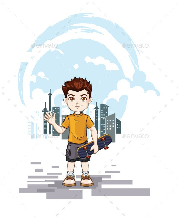 Boy Playing Skateboard with City Landscape - People Characters