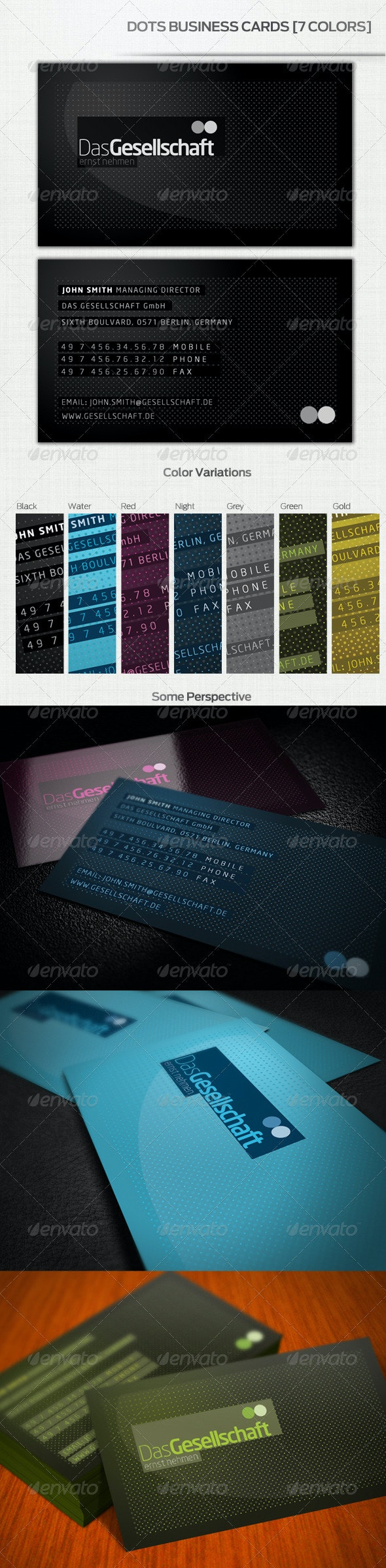 Dots Business Cards [7 Colors] - Creative Business Cards