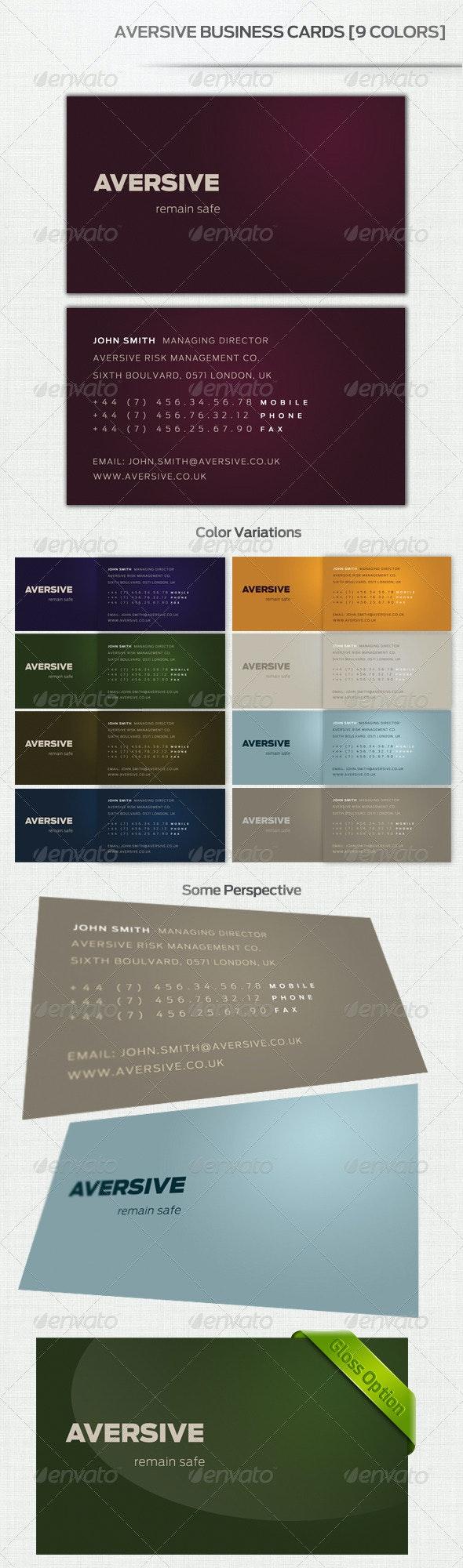 Aversive Business Cards [9 Colors] - Corporate Business Cards