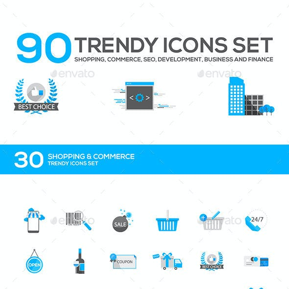 Set of Modern Flat Design Icons