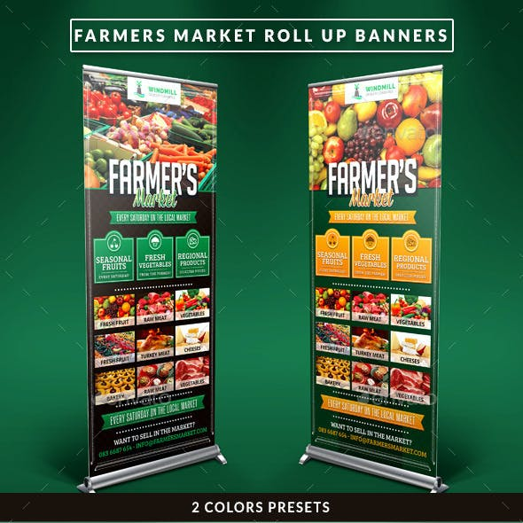 Farmer's Market Commerce Roll Up Banners