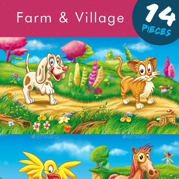 Farm and Village Set - Animals Collection