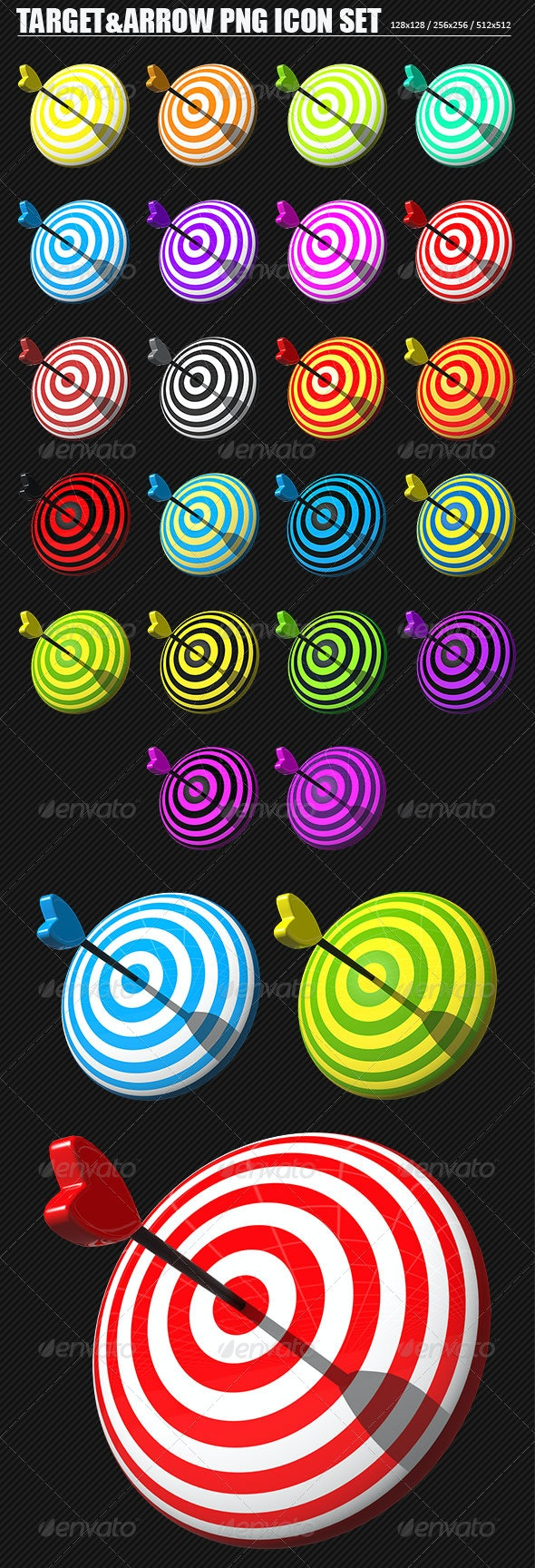 Target And Arrow PNG Icon Set