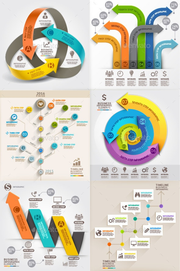 Arrows Business Marketing Infographic Template - Infographics