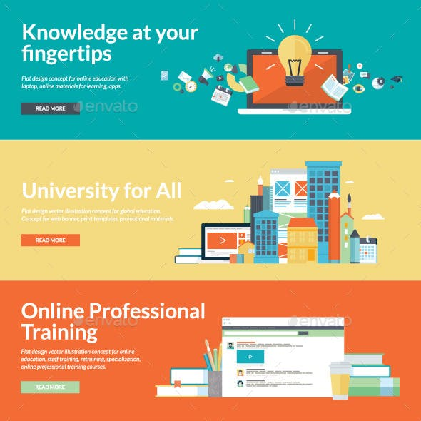 Flat Design Style Concepts for Online Education