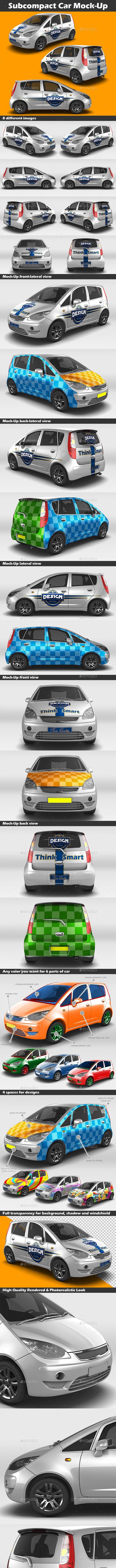Subcompact Car Mock-Up - Vehicle Wraps Print
