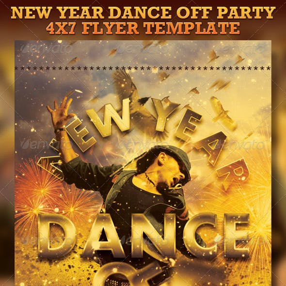 New Year Dance Off Flyer Template