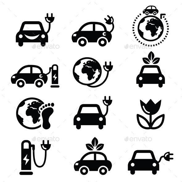 Electric Green Car - Travel Conceptual