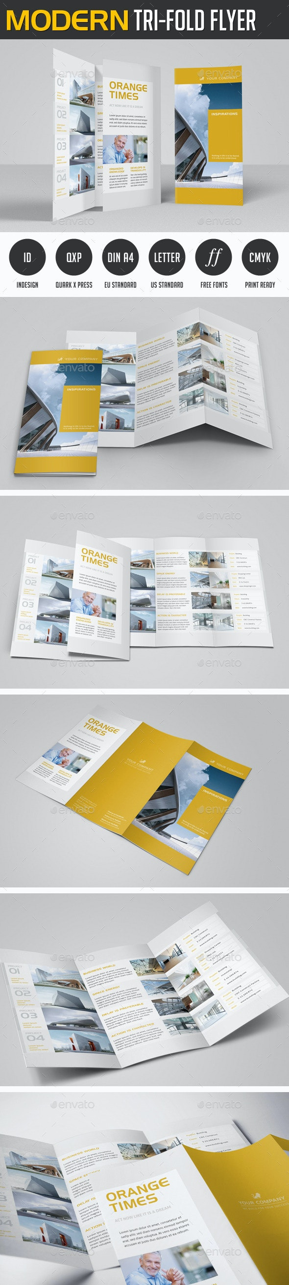 Modern Project Trifold Flyer - Corporate Flyers