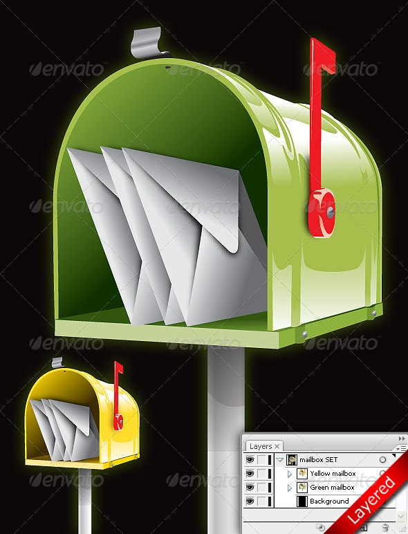 Mailbox wit letters - Objects Vectors