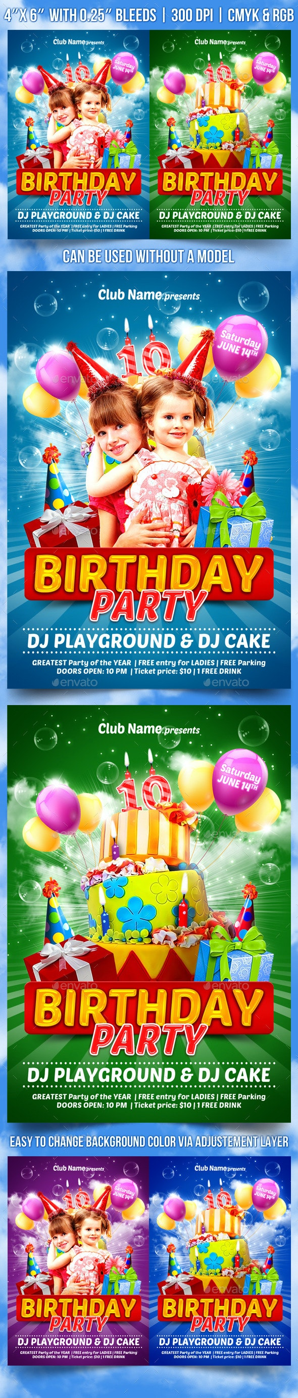 Kids Birthday Party Flyer Template - Clubs & Parties Events