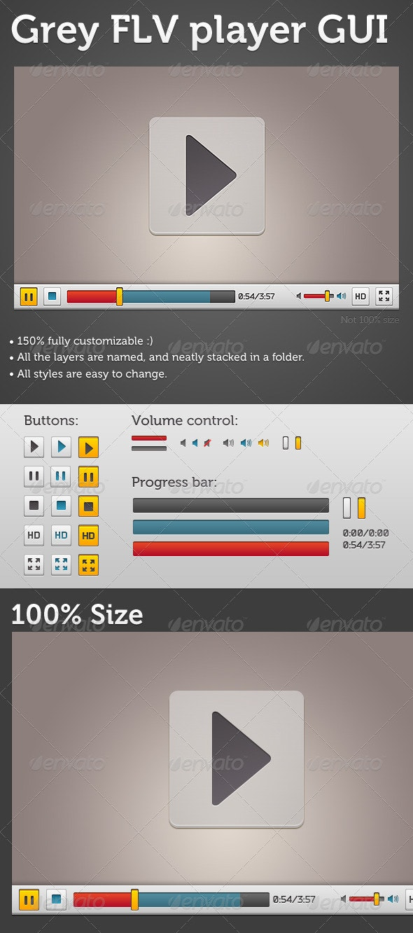 Grey FLV player GUI - User Interfaces Web Elements