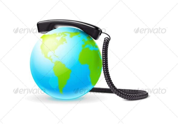 Vector Photo Real Globe With Phone - Web Technology