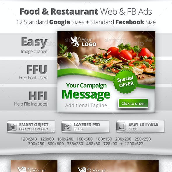 Food & Restaurant Web & Facebook Banners Ads
