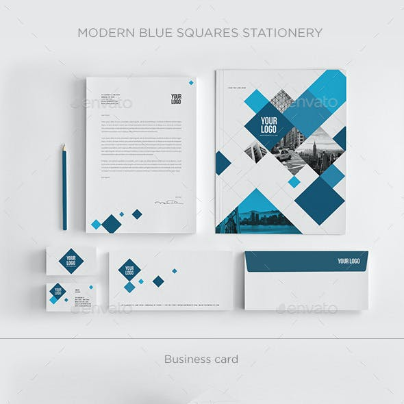 Modern Blue Squares Stationery