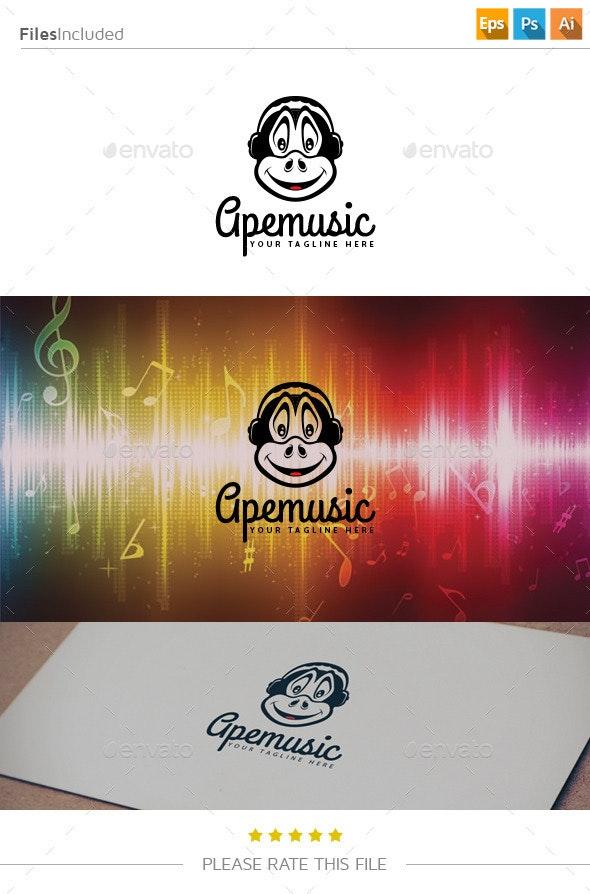Monkey Music Logo - Animals Logo Templates