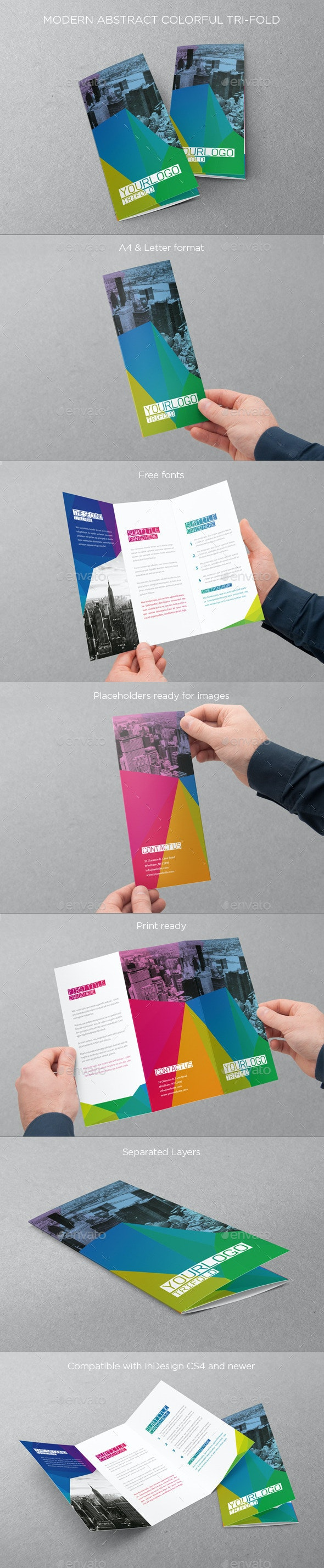 Abstract Colorful Trifold - Brochures Print Templates