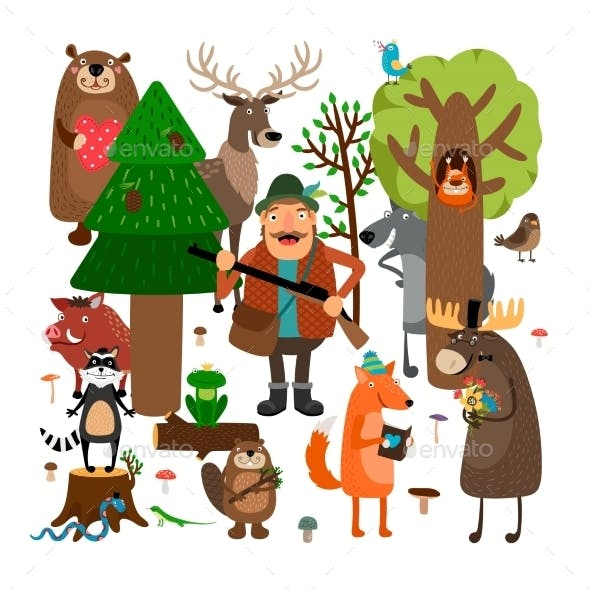 Forest Animals and Hunter