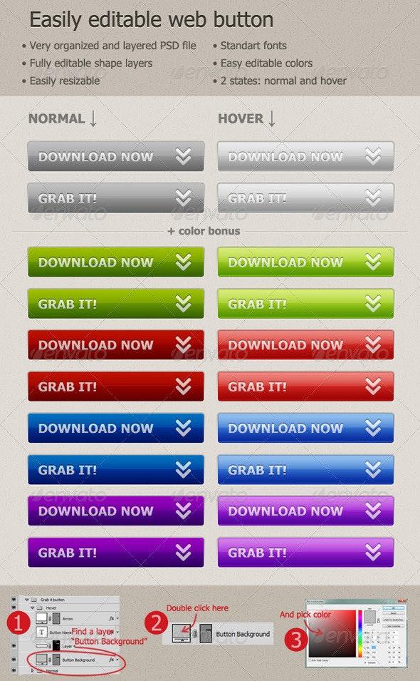 Easily Editable Web Button - Buttons Web Elements