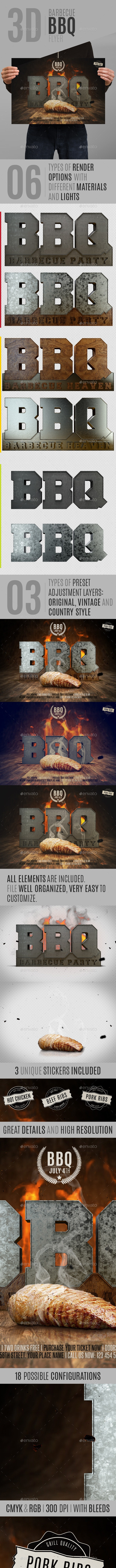 3D Barbecue BBQ Flyer - Events Flyers