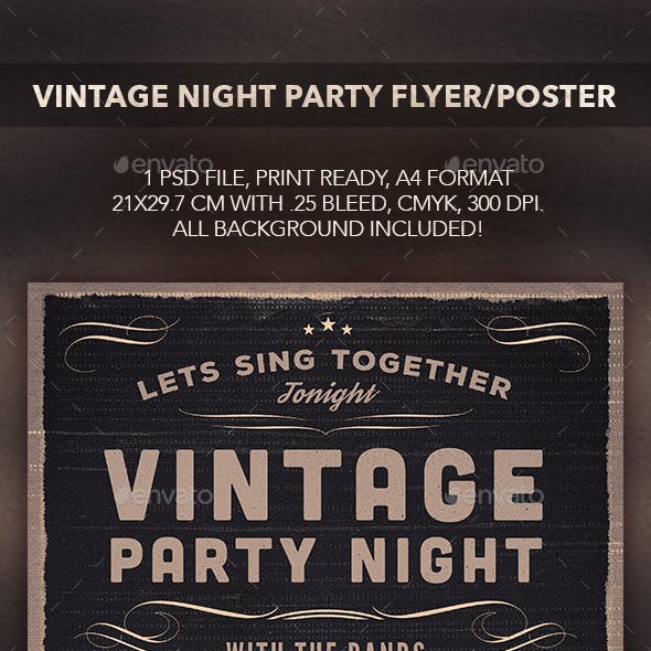 Vintage Party Night Flyer Poster