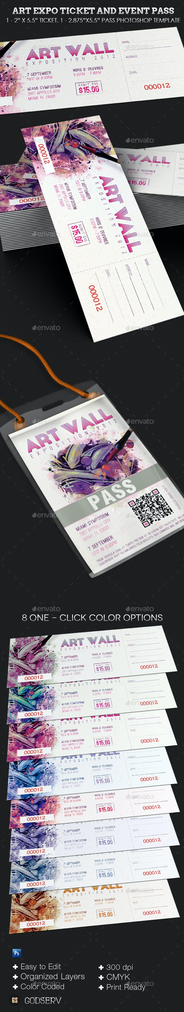 Art Expo Ticket Event Pass Template - Miscellaneous Print Templates
