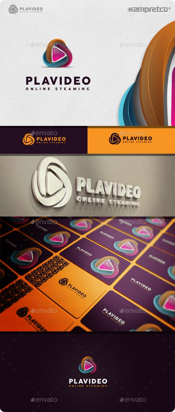Play Stream Logo - 3d Abstract