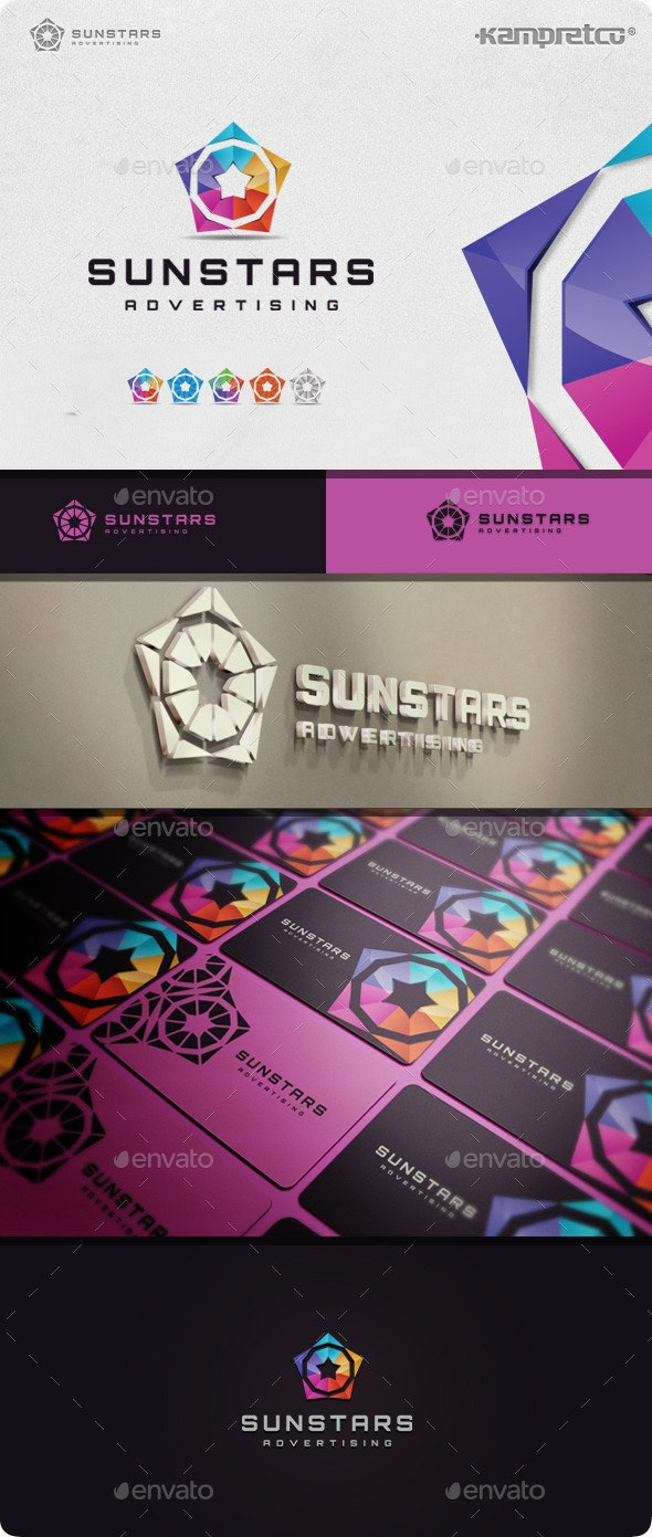 Sun Stars Logo - 3d Abstract